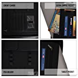 Leather Portfolio for Men and Women - Black Real