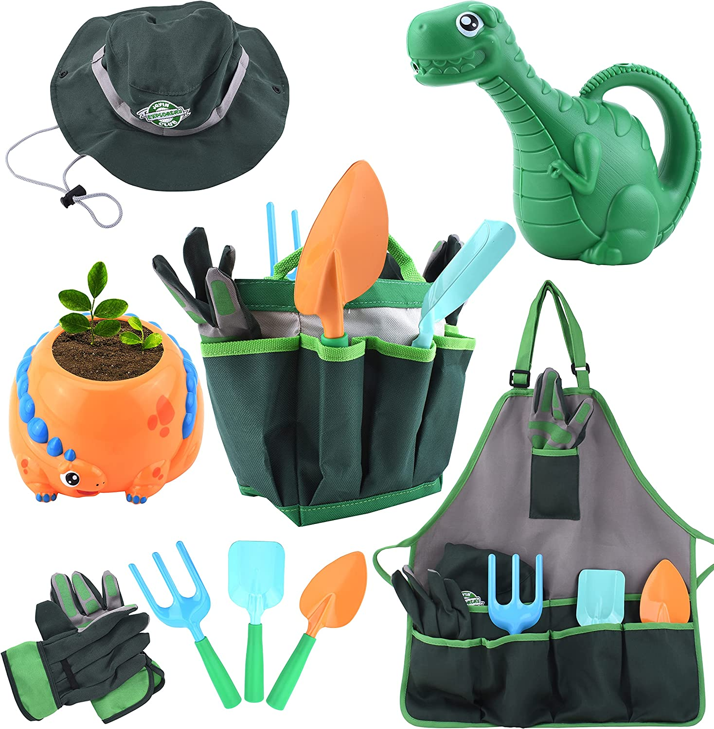 JOYIN Dinosaur Kids Gardening Tool Set Toy Includes Dinosaur Planter & Watering Can, Sun Hat, Apron, Gloves and Kids Gardening Kit Like Shovel, Rake and Trowel, Outdoor Play and Gifts for Boys