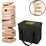 SCS Direct Extra Giant Stacking Tower Drinking Game (Stacks up to 5ft) - 60pcs Wooden Blocks with Drinking Commands (21+ only)