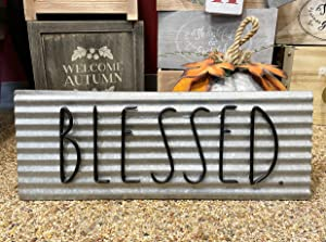 """Rae Dunn Decorative Plaque – Galvanized Steel Wall or Door Sign with """"BLESSED"""" Print – Vintage Style Décor For Home or Garage – Easy to Mount"""