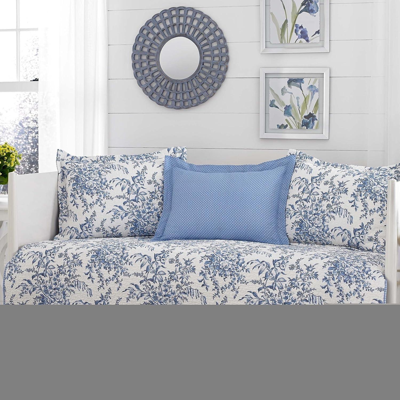 ブルーとホワイトのリバーシブル、5コットンDaybedカバーセットベッドスカートとフローラルパターン付属クロスScented Candleタルト B06XZGMQ4Z