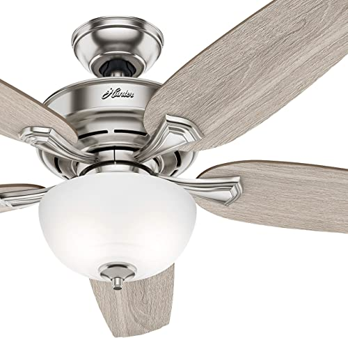 Hunter Fan 54 inch Casual Noble Bronze Indoor Ceiling Fan with Light Kit Renewed Brushed Nickel