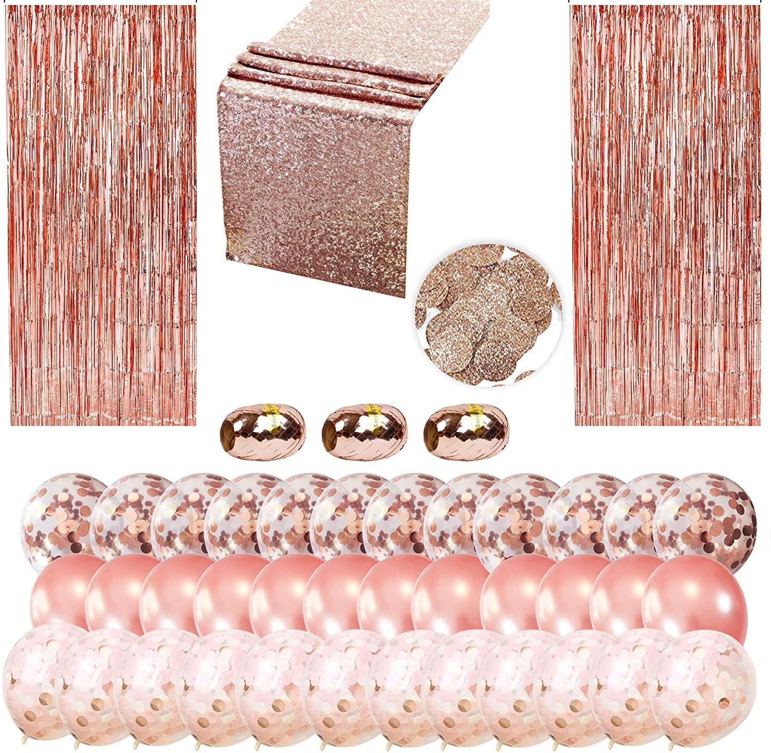 Rose Gold Party Decorations Supply Kit- Package Includes 12 Rose Gold and 24 Confetti Balloons, 2 Foil Fringes, 3 Ribbons,1 Table Runner and 1 Confetti Bag- 43pcs Party Decor