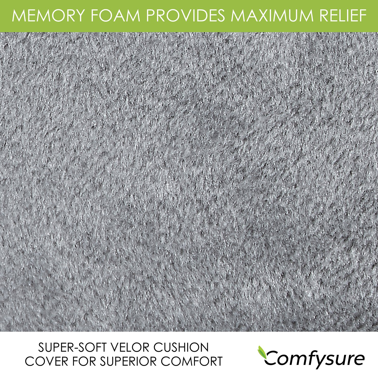 ComfySure Memory Foam Back Cushion – Lumbar Support Backrest Pillow with Dual Adjustable Straps - Soft and Comfortable - Relieves Lower Back Pain and Pressure - By