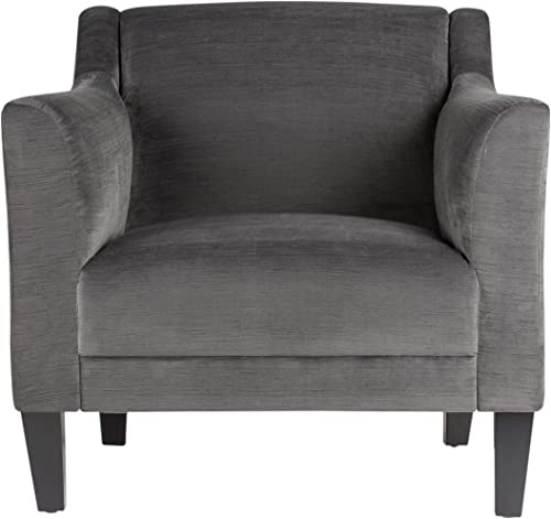 Studio Designs Home Charcoal Gray Grotto Contemporary Club, Upholstered, Tight Back, Accent Arm Chair Polyester Fabric and Dark Espresso Tapered Wood Legs 33.5 W x 32.25 D x 33 H
