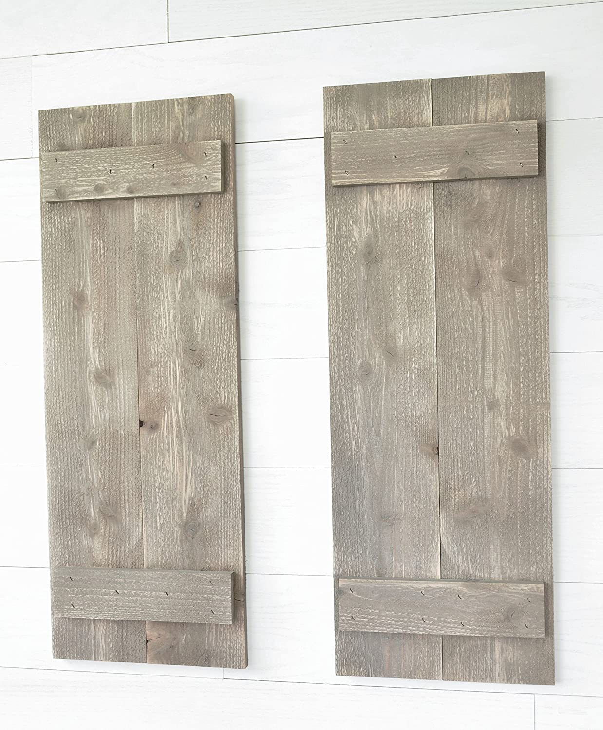 Rustic Barnwood Farmhouse Style Wood Shutters Set Of Two 30