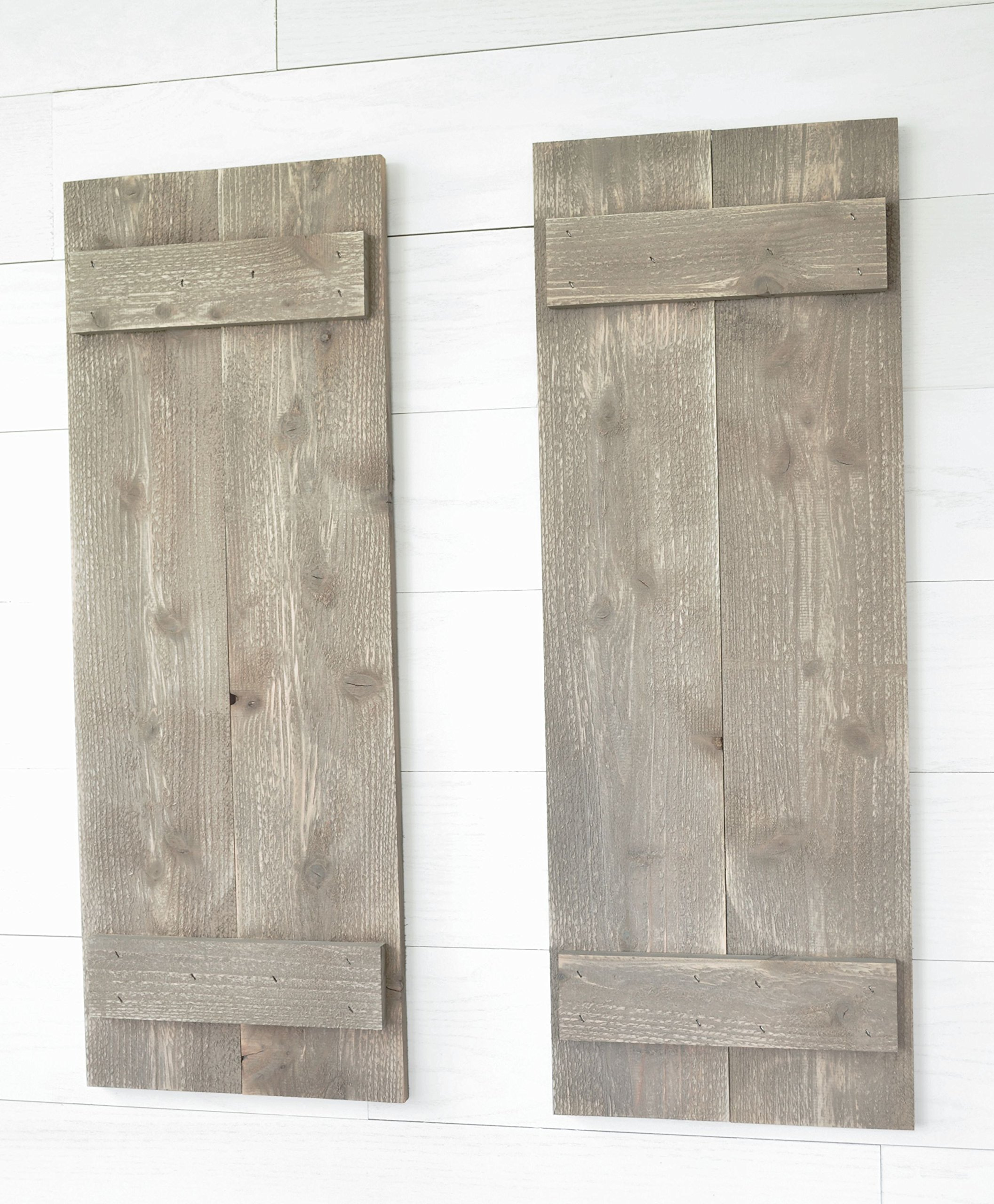 Rustic Barnwood Farmhouse Style Wood Shutters Set Of Two 30'' x 11''