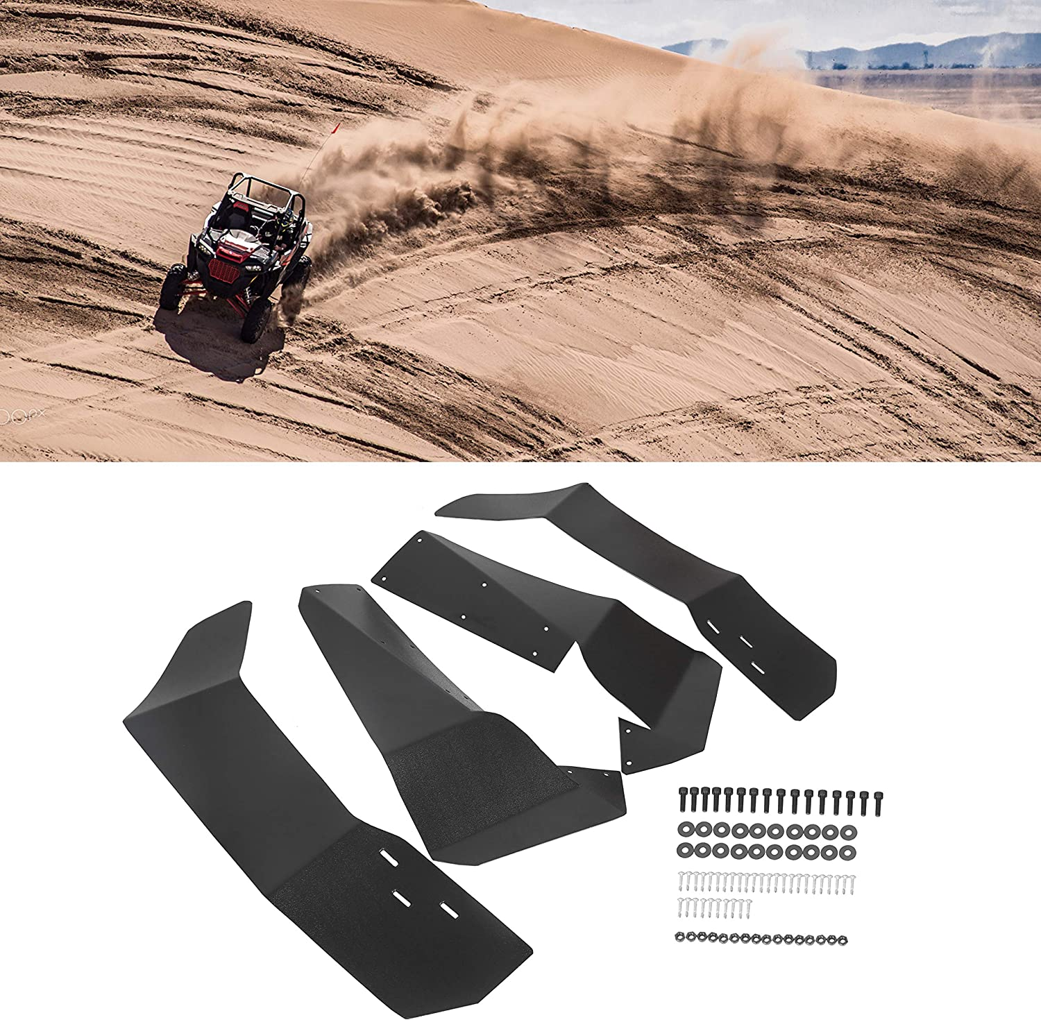 S 4 900 2015-2019 Front and Rear Mud Flaps Set HJSIUTV Extended Fender Flares Mud Guards Replacement for Polaris RZR S 900 S 1000