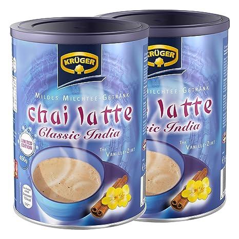 Krüger Chai Latte Classic India Vainilla de canela, leche té, polvo, Instant té