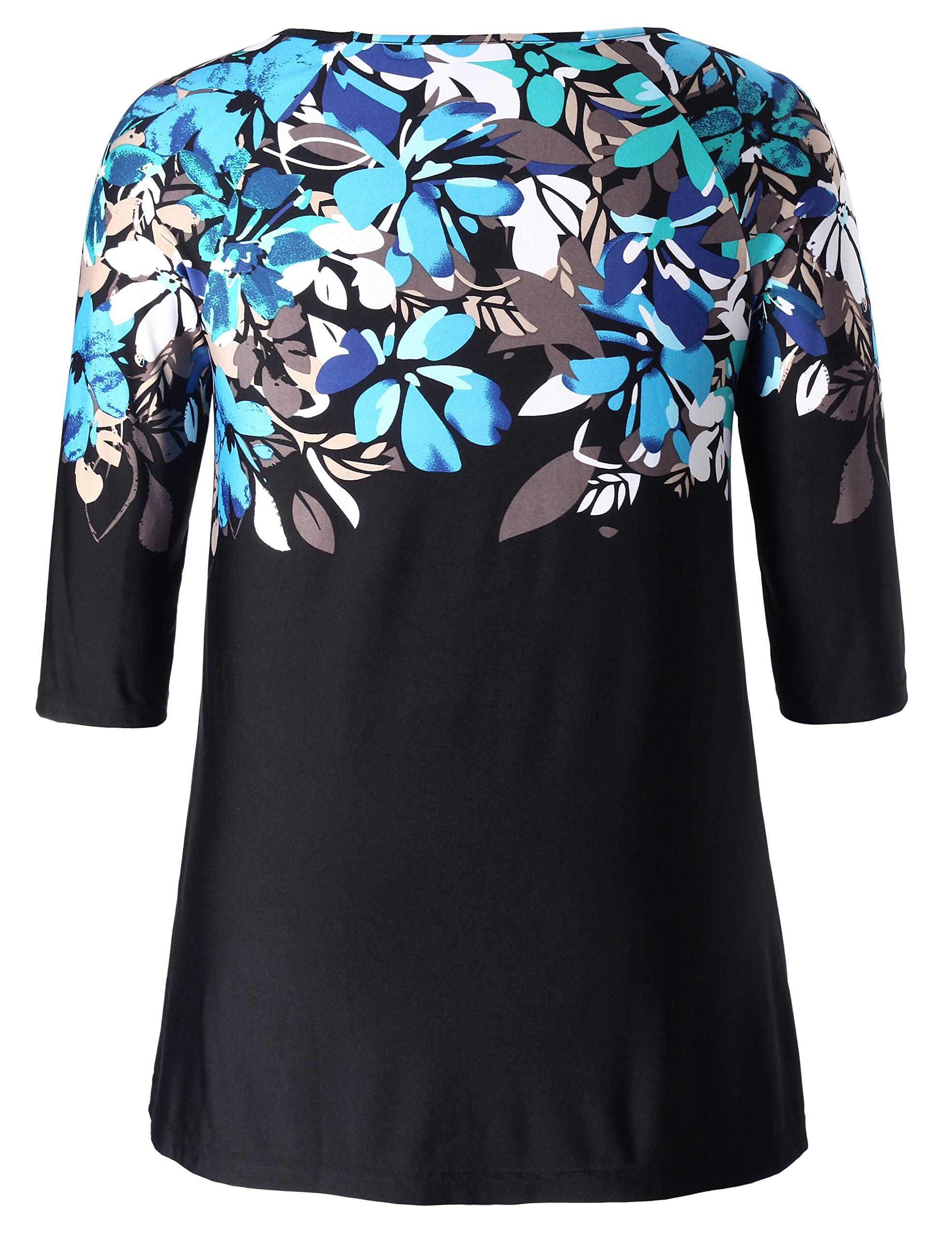Chicwe Women's Plus Size Raglan Sleeves Floral Top - Casual and Work Tunic 2X by Chicwe (Image #2)