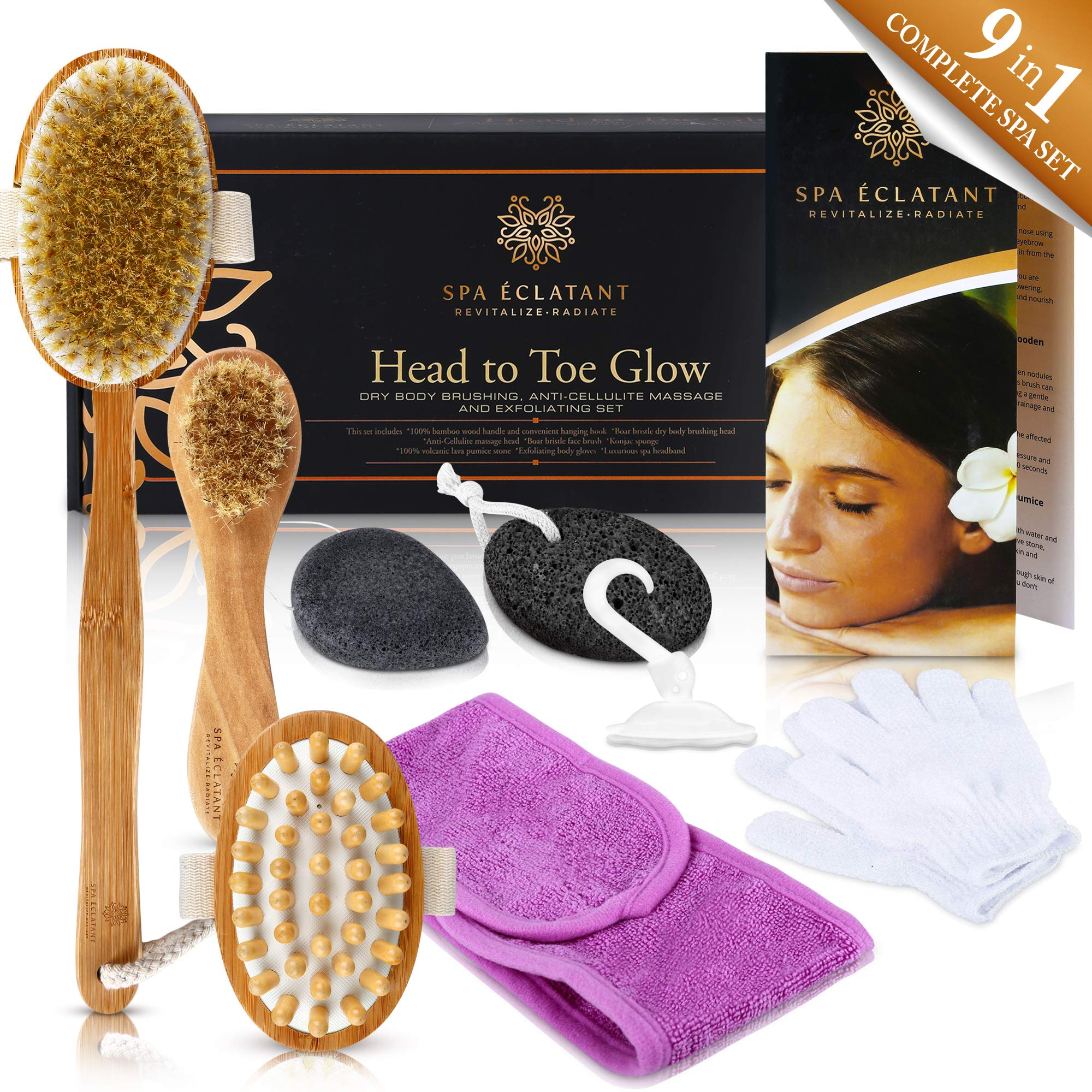 Dry Brushing Body and Exfoliating 9 Pc Set, 100% Bamboo Wood, Natural Boar Bristle, Cellulite Massager, Face Brush, Konjac Sponge, Volcanic Pumice Stone, Spa Headband, Body Gloves - Head to Toe Glow