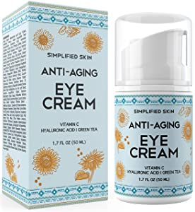 Eye Cream for Dark Circles, Wrinkles, Bags & Puffiness. Best Under & Around Eyes Anti-Aging Treatment with Vitamin C, Hyaluronic Acid, Green Tea & Organic Rosehip oil by Simplified Skin 1.7 oz