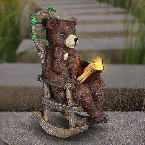 Exhart Solar Bears Reading a Book Garden Statue