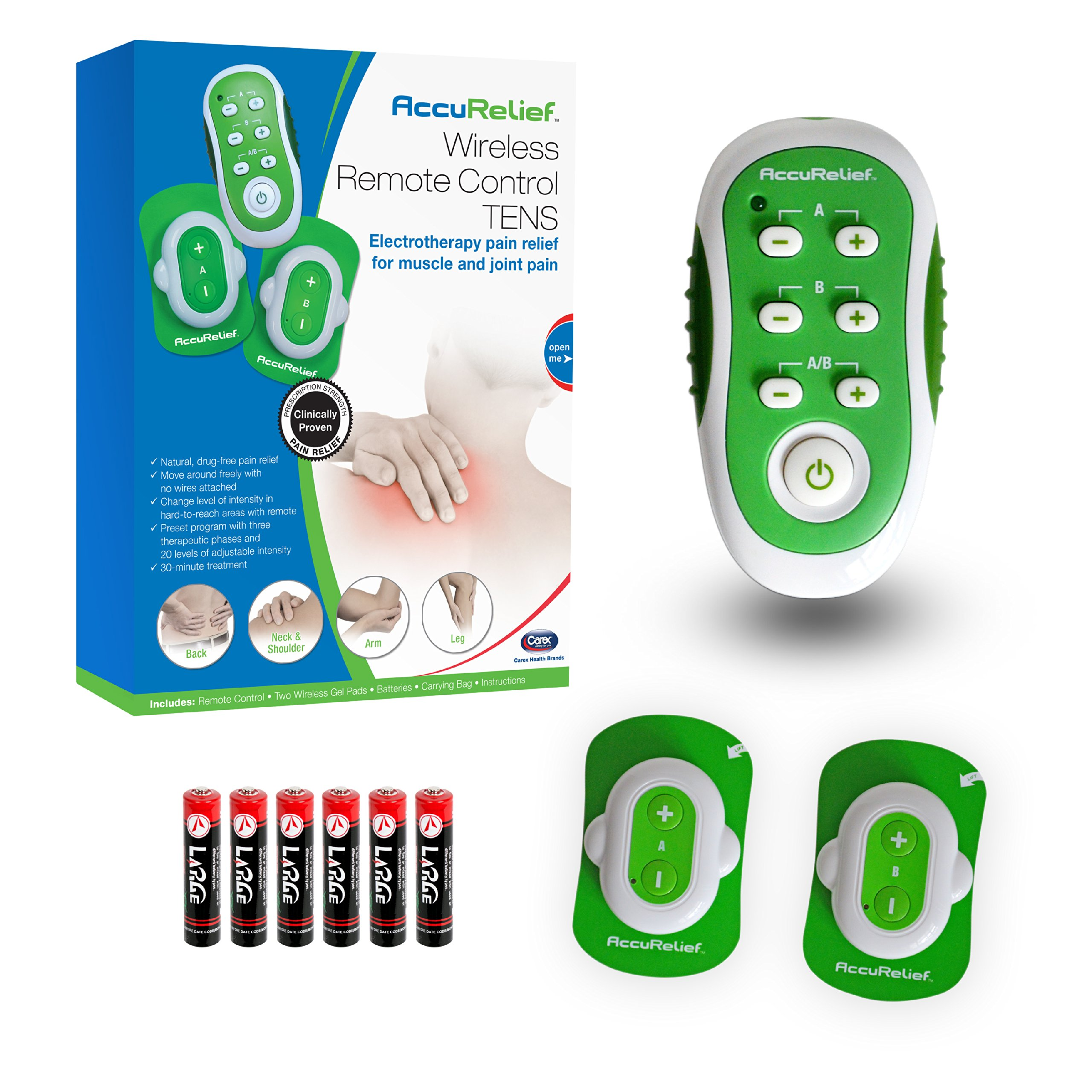AccuRelief Wireless Remote Control TENS Pain Relief Device, Includes Batteries and a Draw-String Carrying Bag