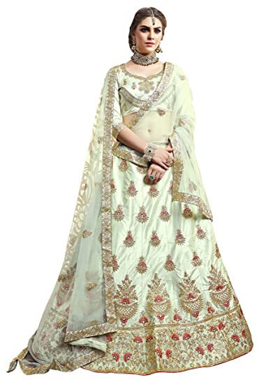 8d2021a13ba Manvaa Women S Silk Embroidered Lehenga Choli In Light Green Color  Amazon. in  Clothing   Accessories