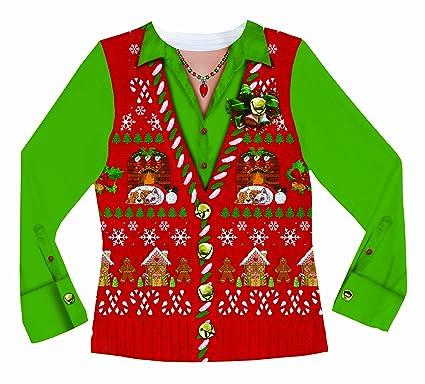 7e35e7b0b23f Amazon.com  Faux Real Sublimated Faux Holiday Long Sleeve T-Shirt ...