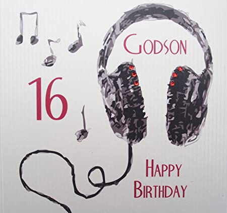 White Cotton Cards Handmade Godson 16 Happy Birthday Headphones 16th