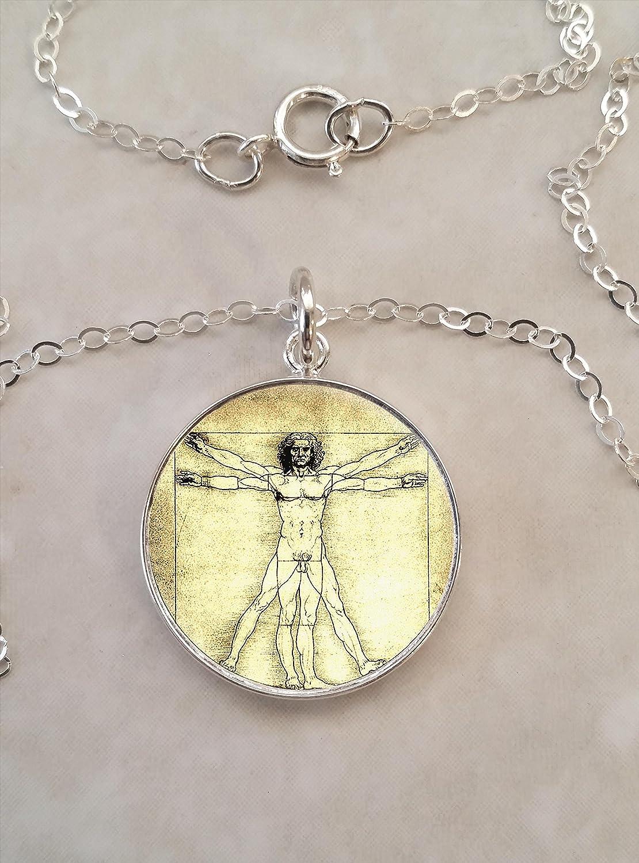 Art Necklace Vitruvian Man Necklace Renaissance Leonardo Da Vinci Necklace Art Lover Handmade Gift Silver Necklace Artist Gift