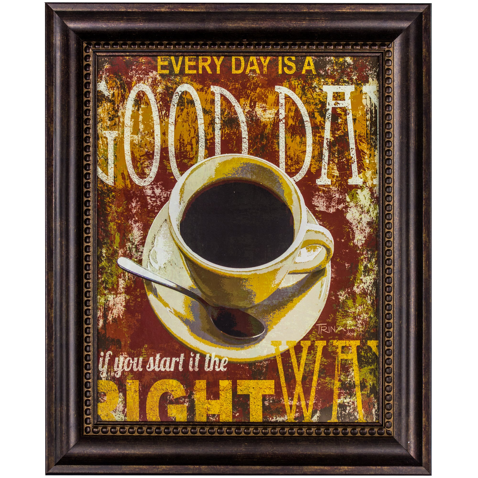 Millennium Art Every Day is a Good Day Ornate Walnut Brown Framed Inspirational Quotes Coffee Graphic Print Wall Art Decor for Living Room, Bedroom, Home Wall Decoration