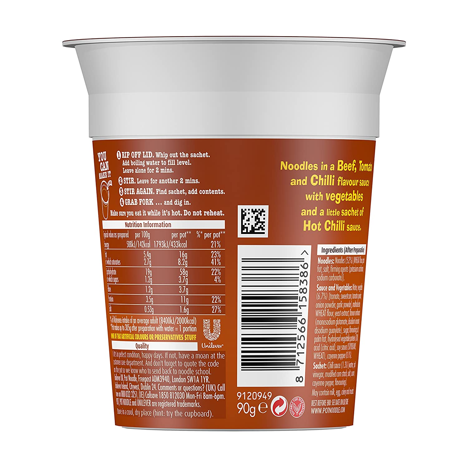 d816f7cb7dcf8 Pot Noodle Chilli Beef 90 g (Pack of 12)  Amazon.co.uk  Grocery