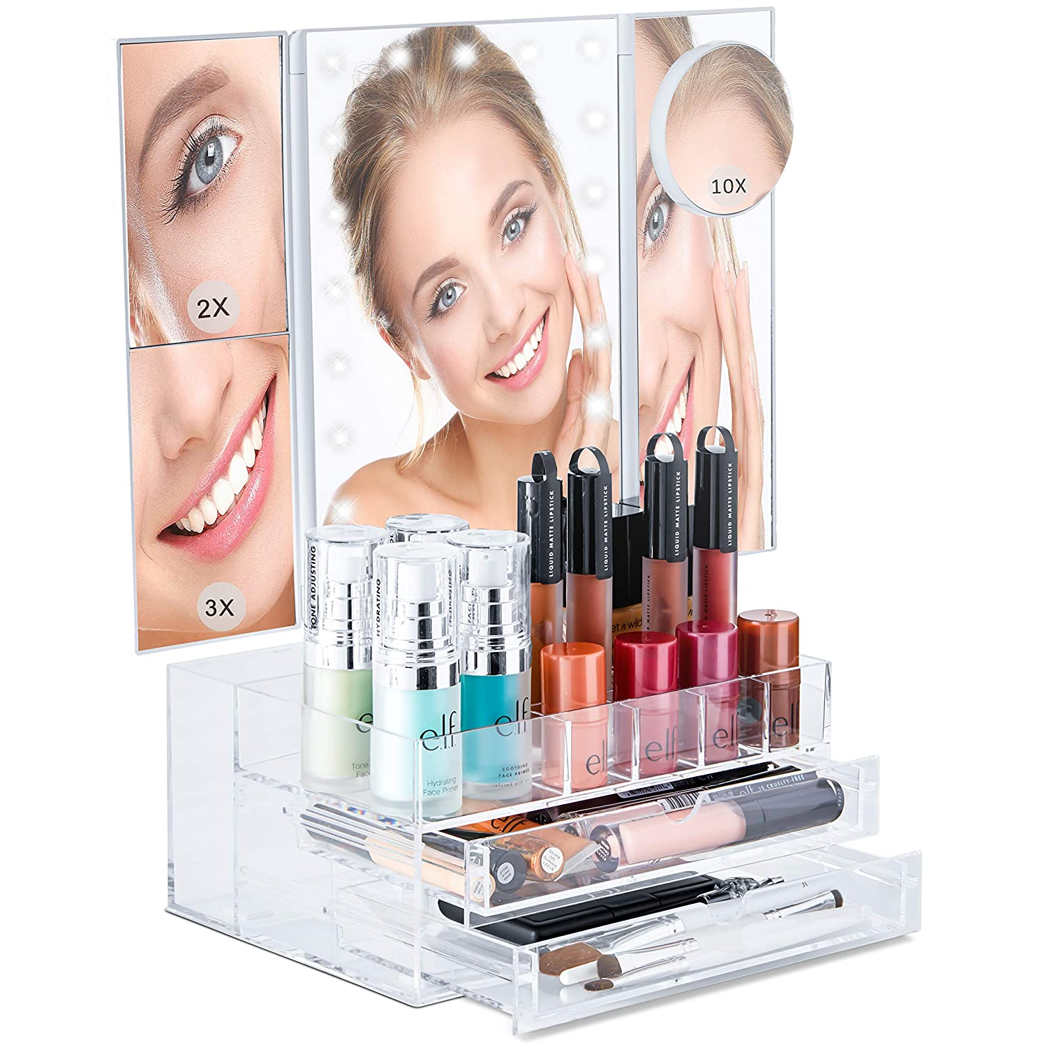 Bellapelle TriFold LED Lighted Makeup Mirror Touch Dimmable with 10x 3x 2x Magnification and Makeup Organizer for Vanity Desk or Countertop