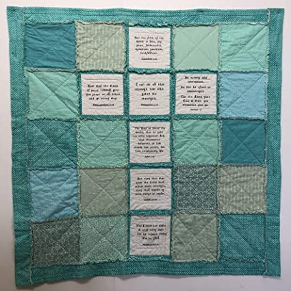 Amazon com: Rag Cross Quilt in Greens and Blue with Free