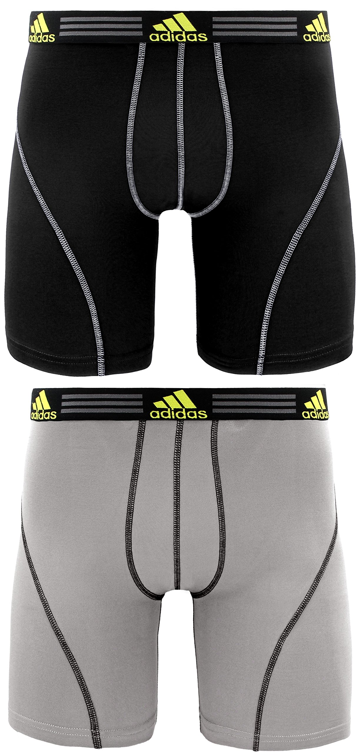 adidas Men's Sport Performance Midway Underwear (2-Pack), Light Onix/Black Black/Light Onix, LARGE by adidas