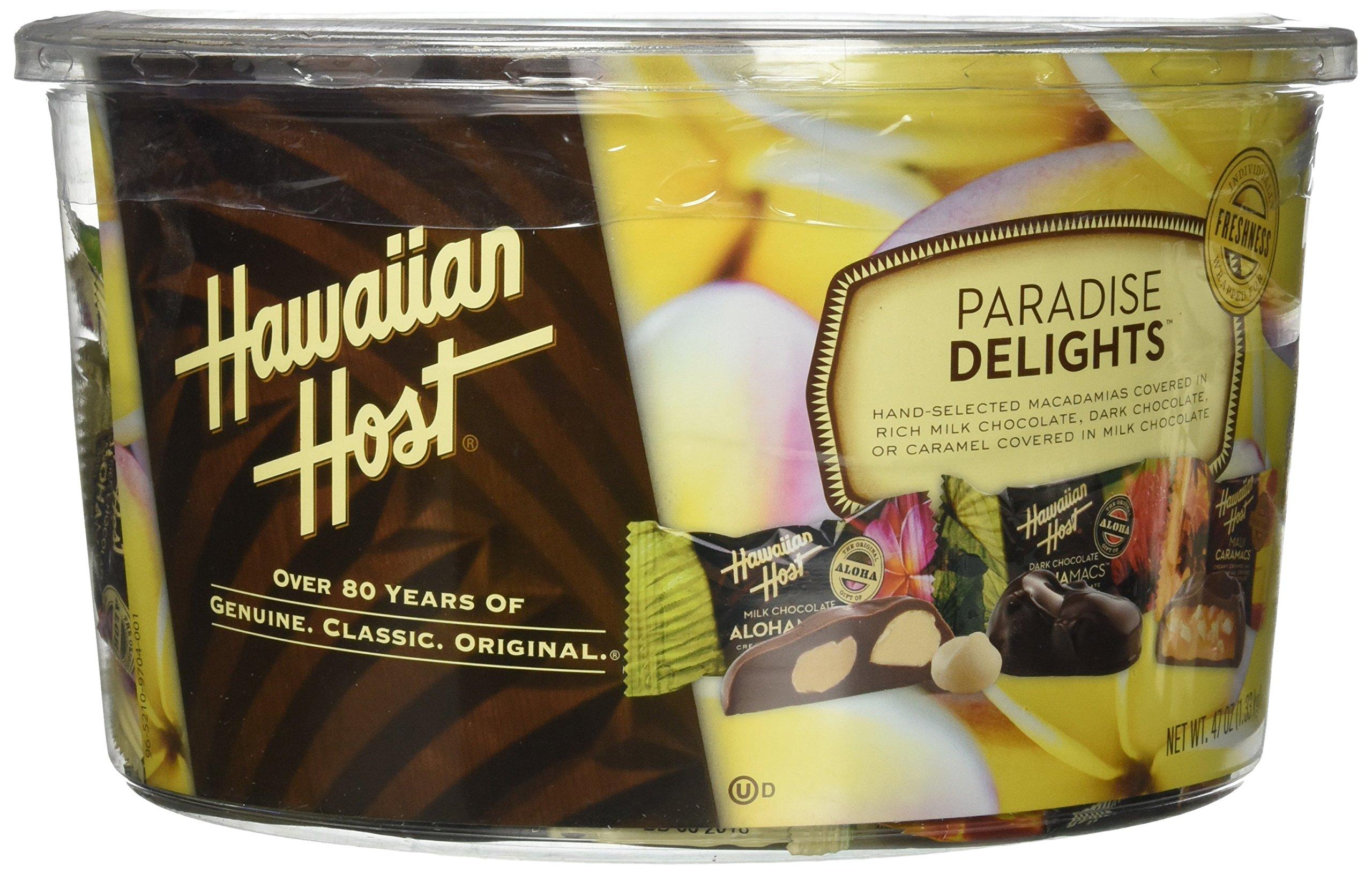 Paradise Delights Chocolate Covered Macadamia Nut Variety Pack 47 oz (Maui Caramacs, Dark Chocolate Aloha Macs, Milk Chocolate Aloha Macs) by Hawaiian Host
