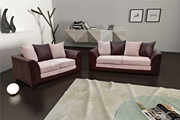 Dylan Byron Visón y marrón Tela Jumbo sofá, sofá 3 + 2 ...