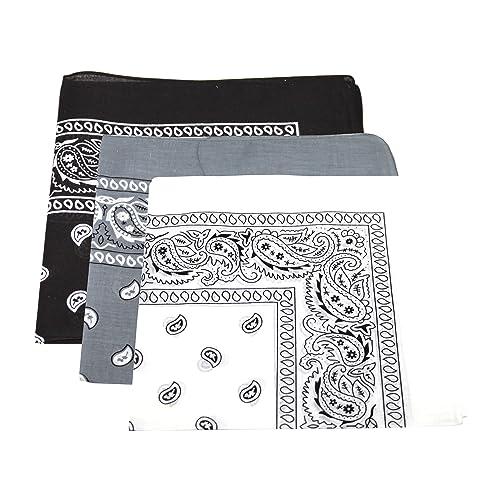 3bandanas de cabeza, bufandas de cuello para hombre/mujer de cachemir 100% algodón (negro, blanco, g...