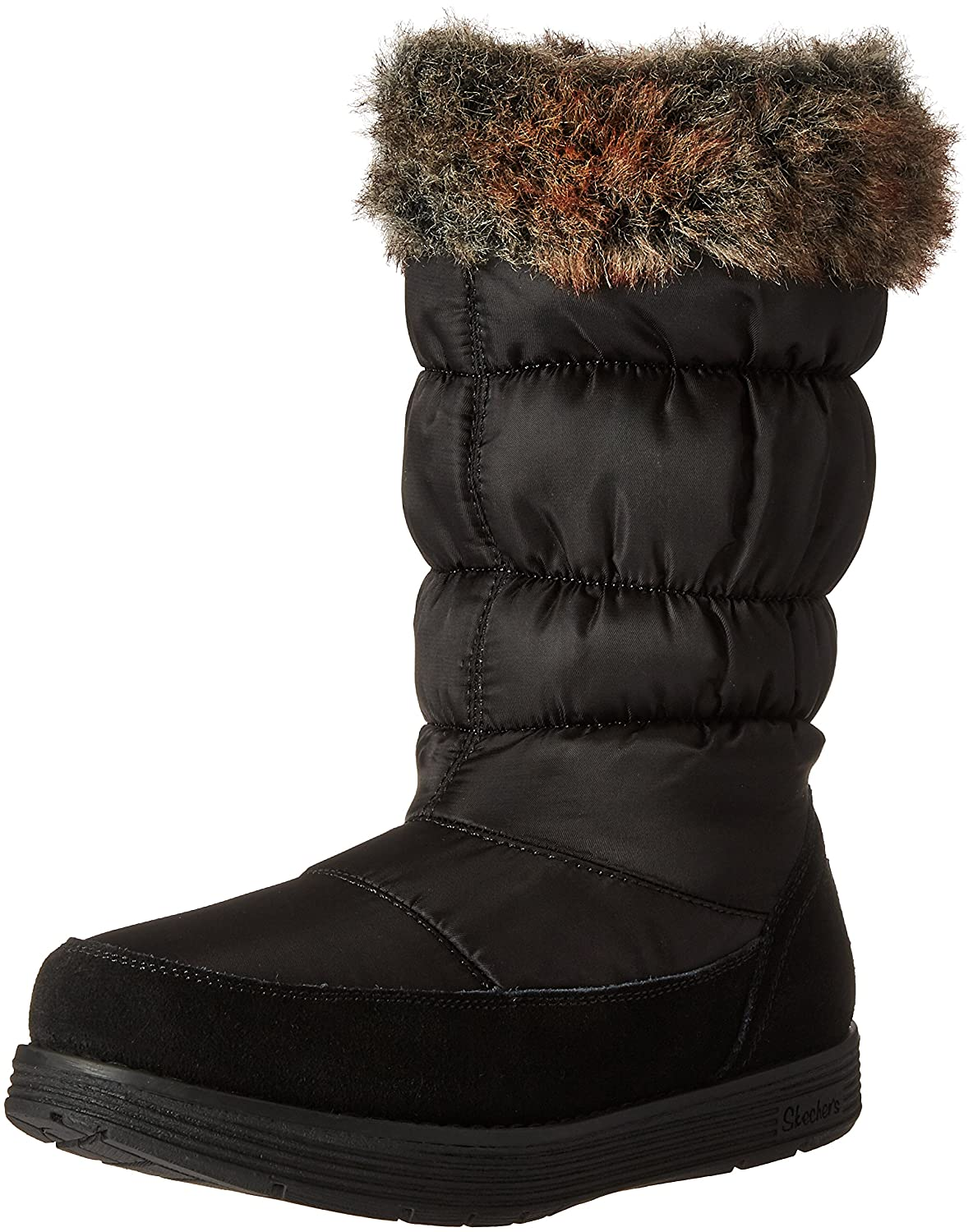Skechers Women's Adorbs-Nylon Quilted Snow Boot B01CH50WY4 8 B(M) US|Black