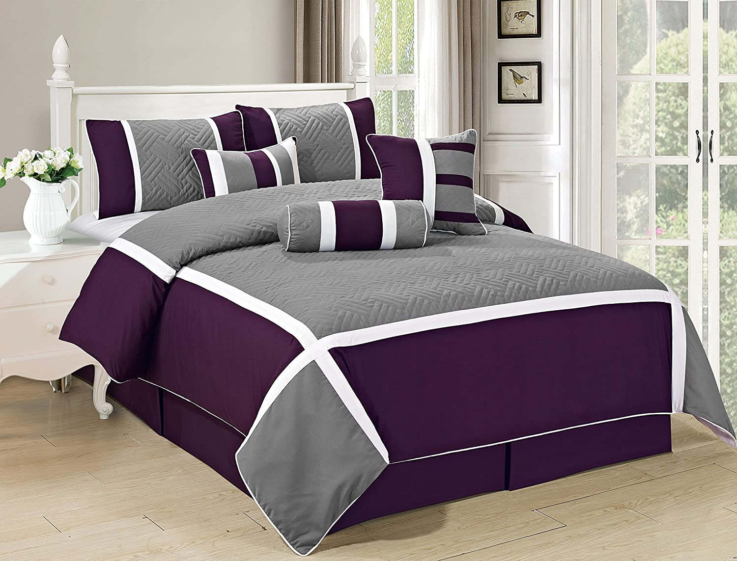 All American Collection New 7 Piece Embroidered Over-Sized Comforter Set (Cal King, Purple/Grey)