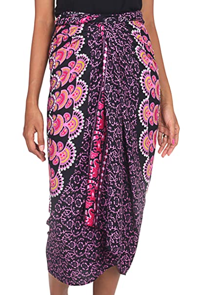 3cead9eb6b Image Unavailable. Image not available for. Color: NOVICA Pink Purple Rayon Sarong  Beach Swimsuit Cover ...