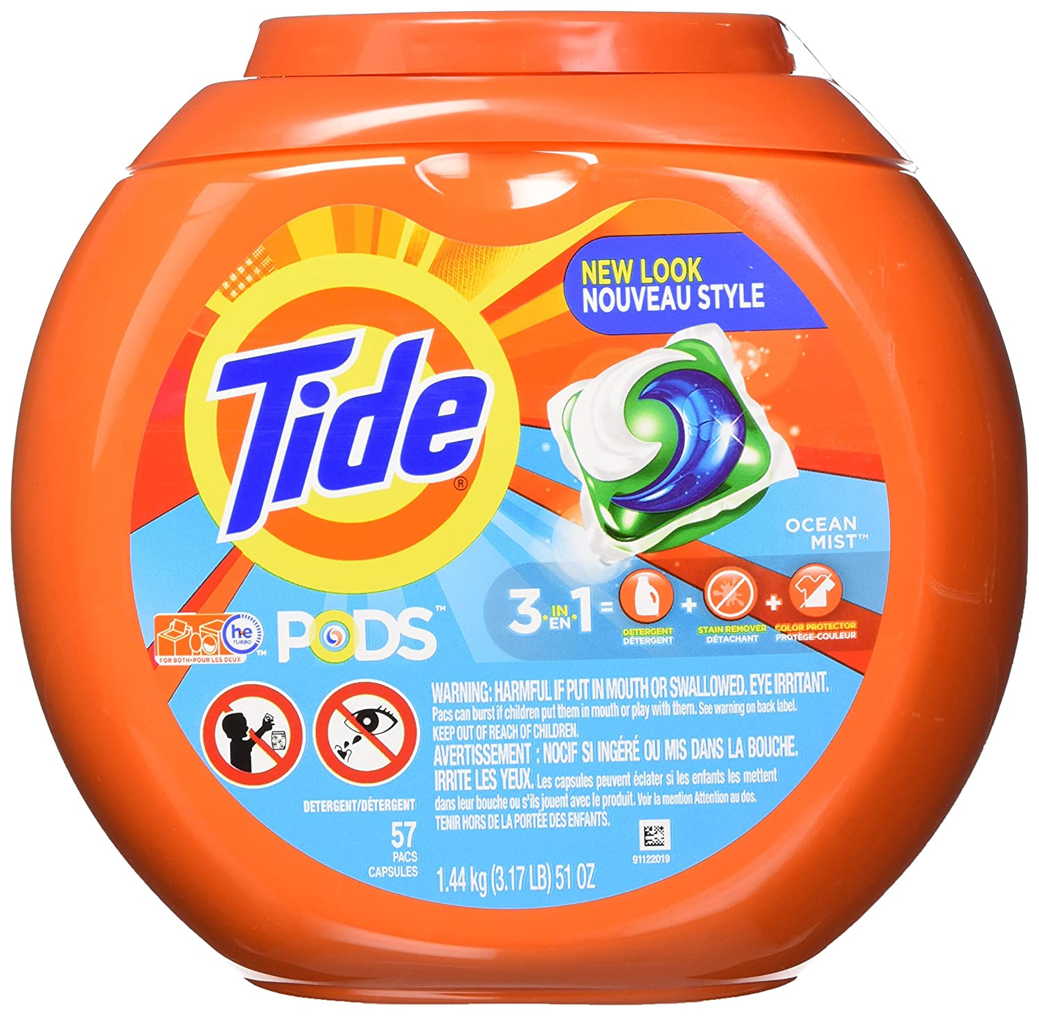 Amazon.com: Tide PODS 3 in 1 HE Turbo Laundry Detergent Pacs, Ocean ...