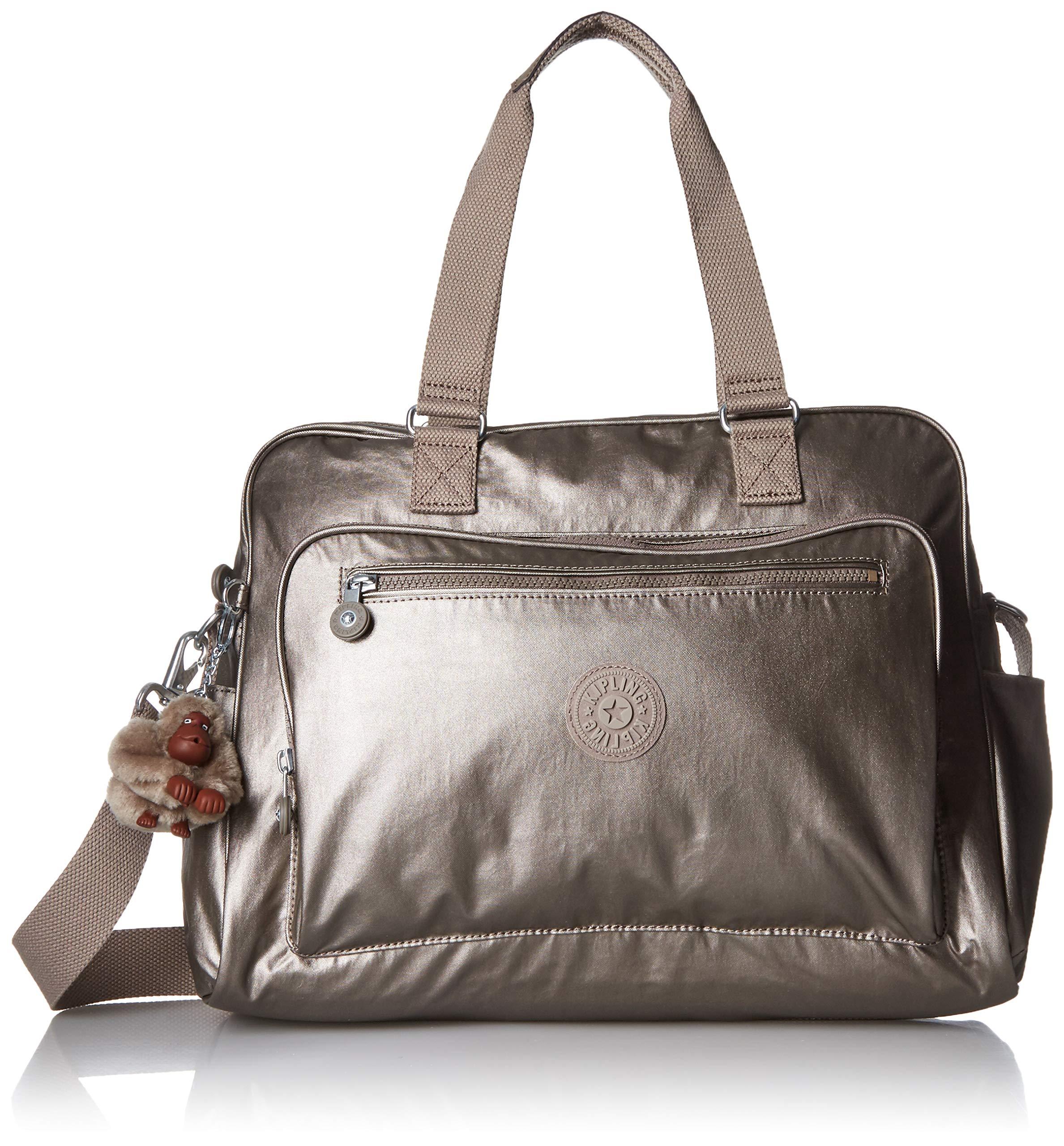 Kipling Women's Alanna Diaper Bag, Stroller Clips, Zip Closure, metallic pewter, One Size