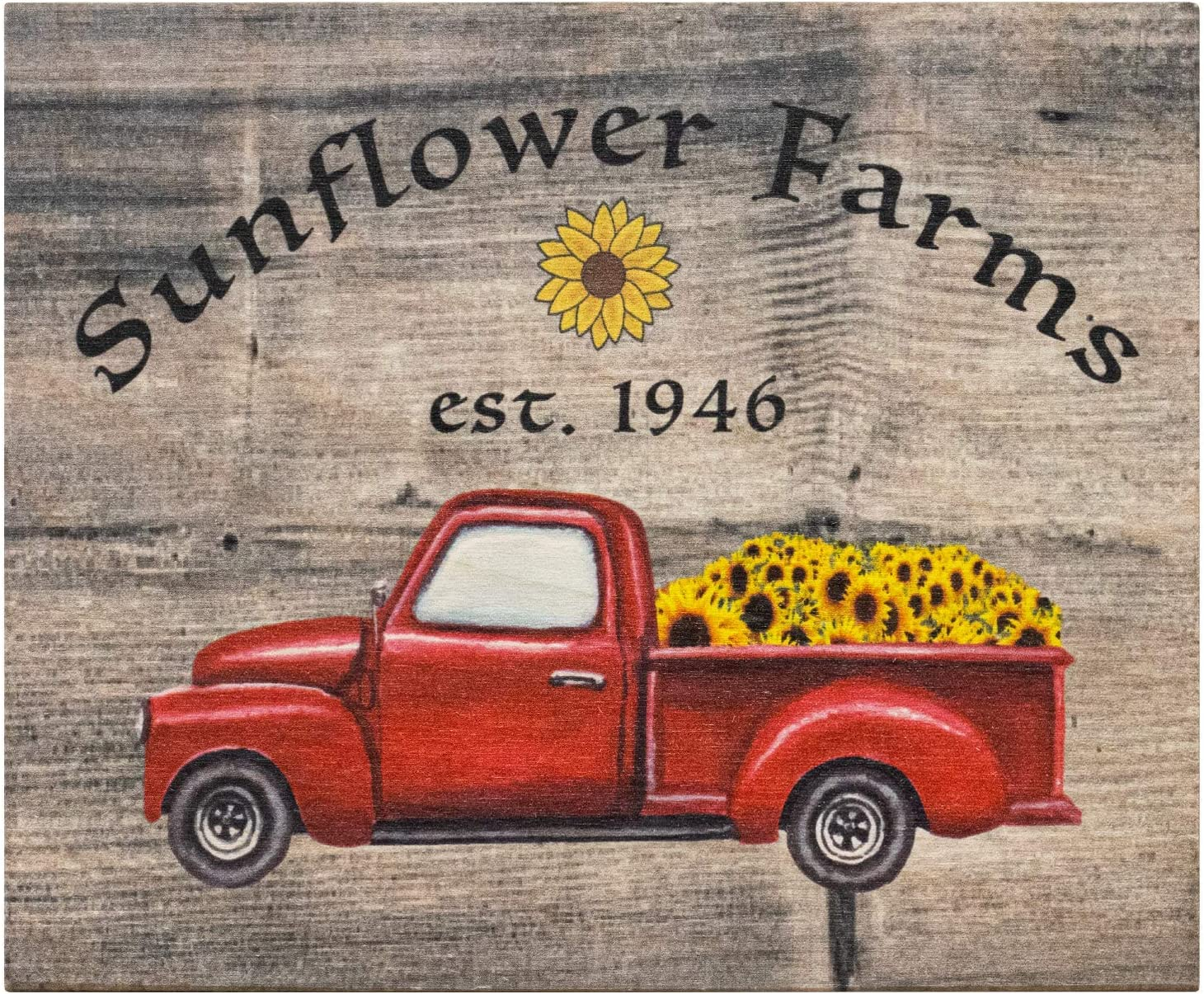 JennyGems Sunflower Farms Wooden Sign | Farmhouse Country Home Accent | Sunflowers Decor | Red Truck Country Signs | American Made