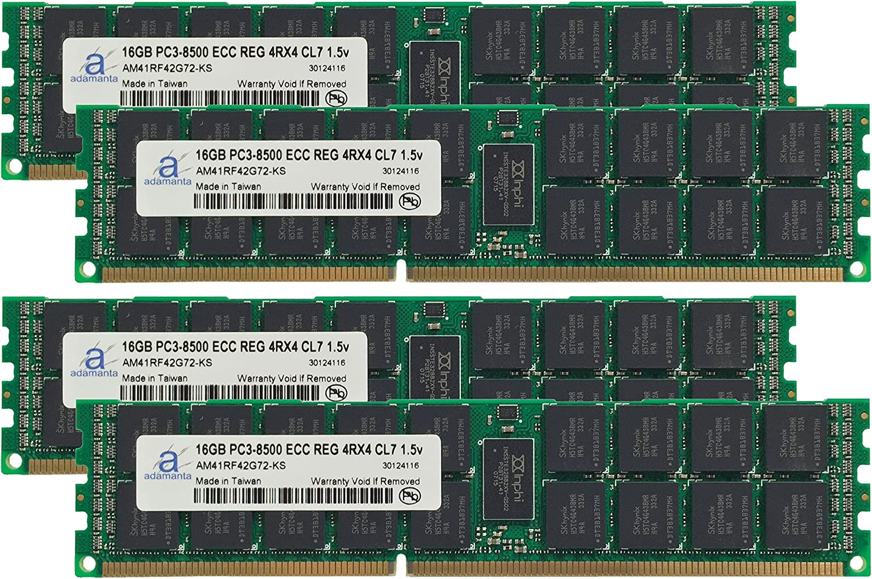 4x16GB Server Memory Upgrade for Dell PowerEdge R410 DDR3 1066Mhz PC3-8500 ECC Registered 4Rx4 CL7 1.5v Adamanta 64GB