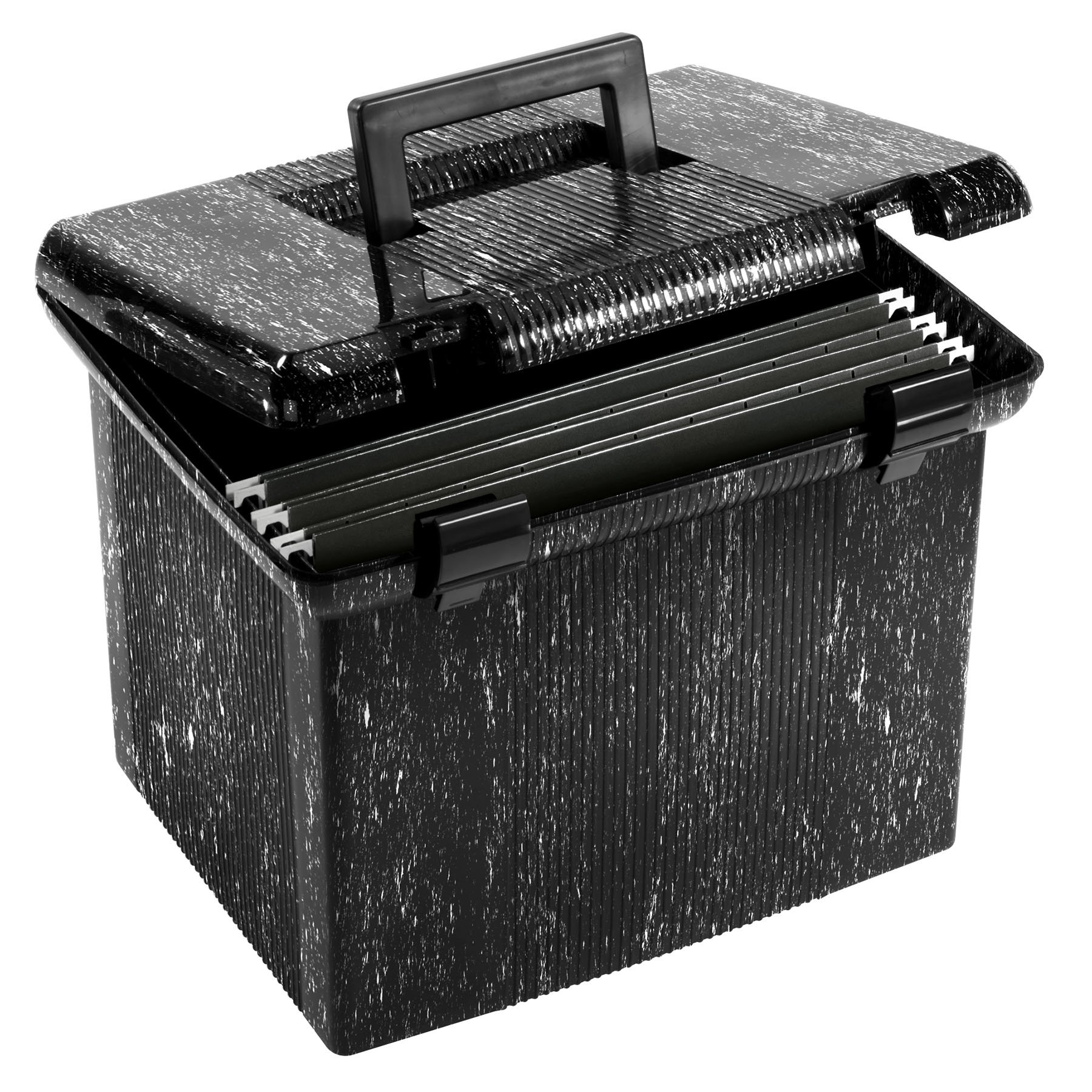 Pendaflex Portable File Box, 11''H x 14'' W x 11 1/8'' D, Black Marble (41743EE) by Pendaflex