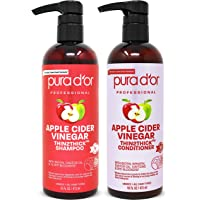 PURA D'OR Apple Cider Vinegar Thin2Thick Set Shampoo Conditioner for Regrowth, Hair Loss, Clarifying, Detox (2 x 16oz…