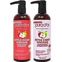 PURA D'OR Apple Cider Vinegar Thin2Thick Set Shampoo Conditioner for Regrowth, Hair Loss, Clarifying, Detox (2 x 16oz…