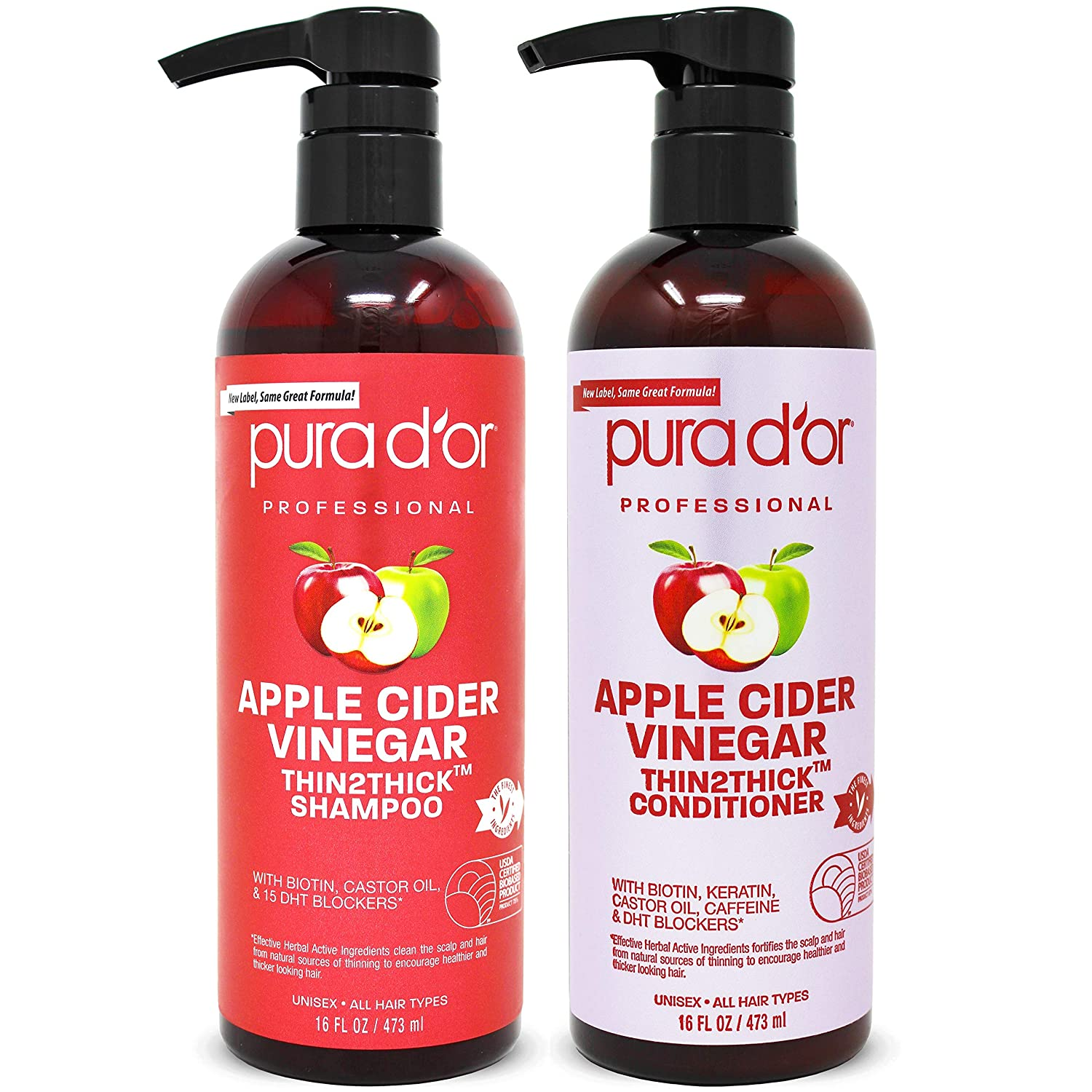 PURA D'OR Apple Cider Vinegar Thin2Thick Set Shampoo Conditioner for Regrowth, Hair Loss, Clarifying, Detox (2 x 16oz) Biotin, Keratin, Caffeine, Castor Oil, All Hair Type, Men/Women, Packaging varies: Beauty