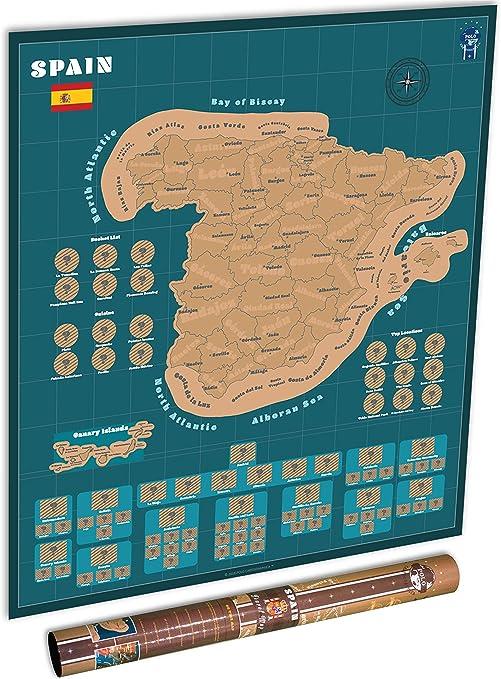 Póster del Mapa de España de Scratch para Viajes - Rastreador de ...