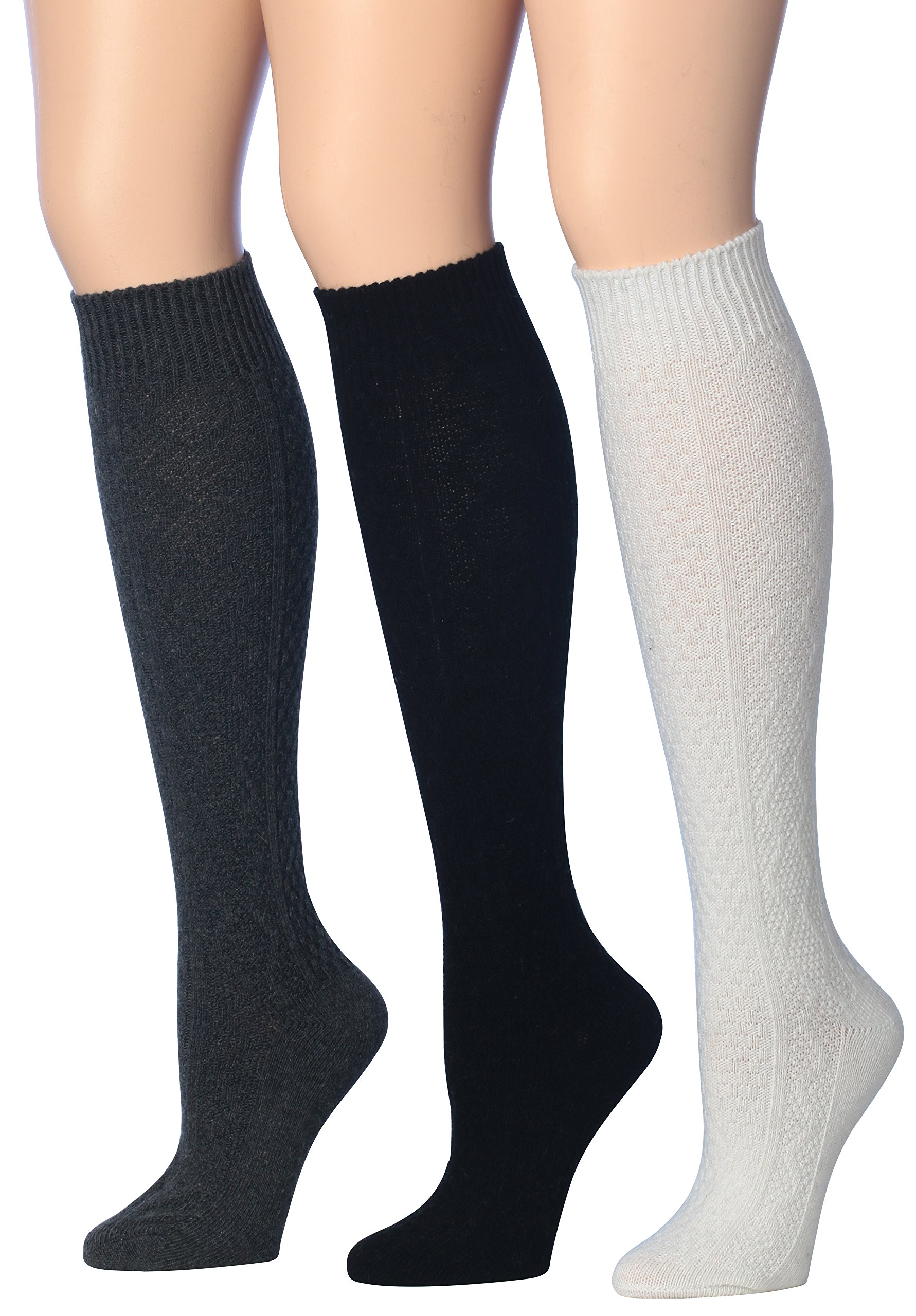 Tipi Toe Women's 3-Pairs Ragg Marled Argyle Knee High Wool-Blend Boot Socks, (sock size 9-11) Fits shoe size 6-9, WK01-A