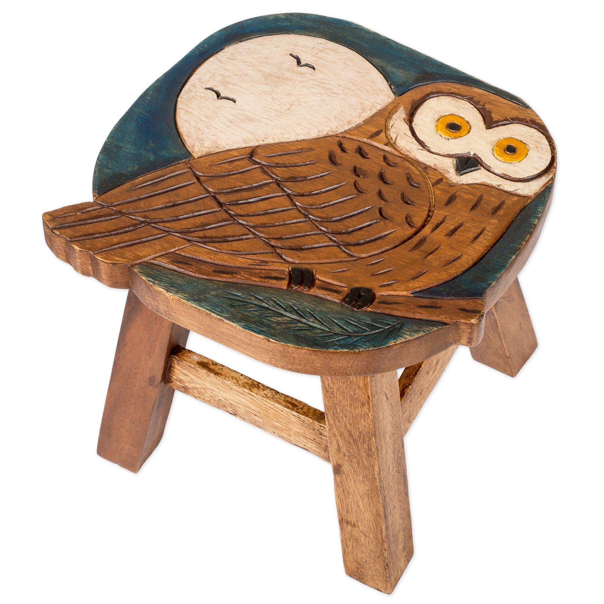 Owl Design Hand Carved Acacia Hardwood Decorative Short Stool