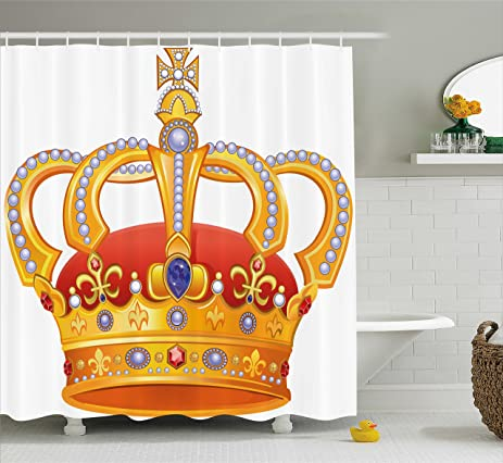 Amazon.com: King Shower Curtain by Ambesonne, Royal Crown with Gem on crown bedroom accessories, crown car accessories, crown curtain holder, crown of light, crown desk accessories, crown sinks, crown home accessories,