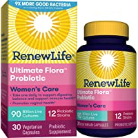 Renew Life Women's Probiotics 90 Billion CFU Guaranteed, Probiotics for Women, 12 Strains, Shelf Stable, Gluten Dairy & Soy Free, 30 Capsules, Ultimate Flora Women's Care