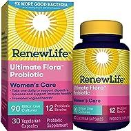 Renew Life Womens Probiotic - Ultimate Flora Women's Care, Shelf Stable Probiotic Supplement - Gluten, Dairy & Soy Free - 90 Billion CFU - 30 Vegetarian Capsules