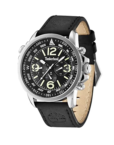 Timberland Campton Men's Quartz Watch with Black Dial Chronograph Display and Black Leather Strap 13910JS02