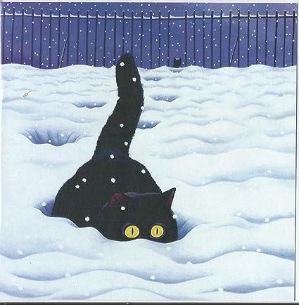 Tarjeta gato mujeriego~pie grande en la nieve~Blank Tarjeta de ...