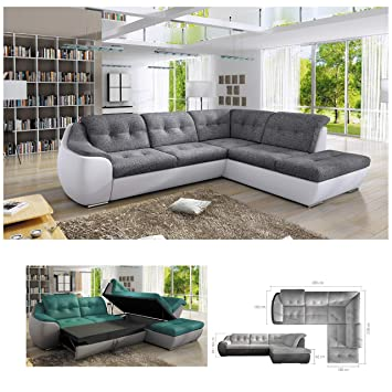 Bmf Galaxy D White Grey Modern Corner Sofa Bed Storage Faux Leather